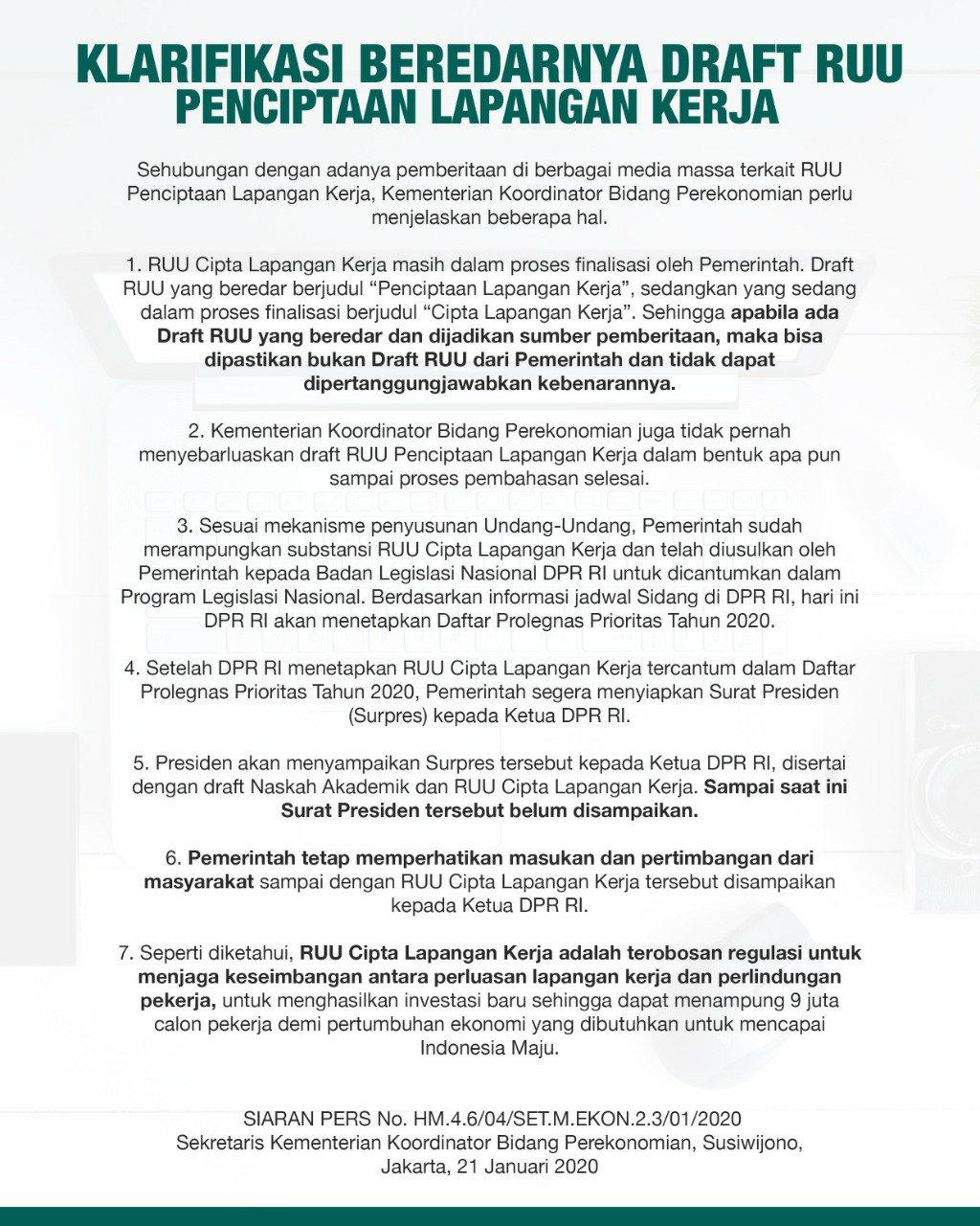 Kemenko Ekon Klarifikasi Beredarnya Draft RUU Penciptaan Lapangan Kerja